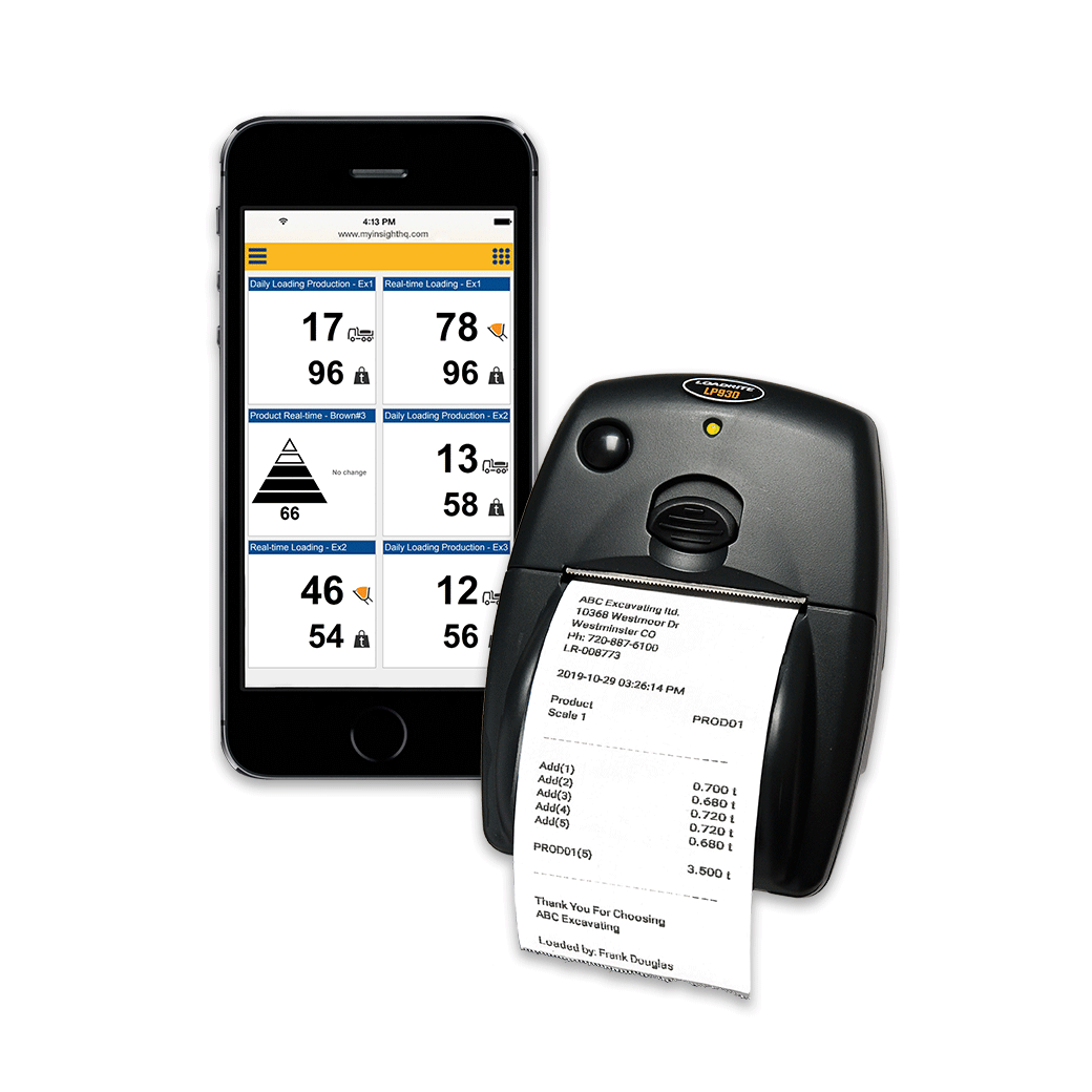 Phone and printer with Trimble LOADRITE Payload Management